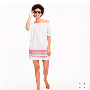 J. CREW white and rainbow off shoulder dress, M.